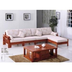 亿908橡木全实木加布艺沙发(含一个茶几)